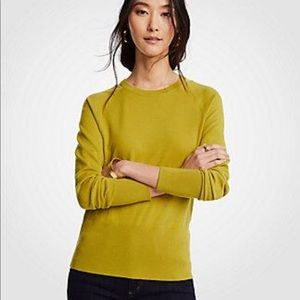 Ann Taylor Shoulder Cutout Sweater in Yellow Lime